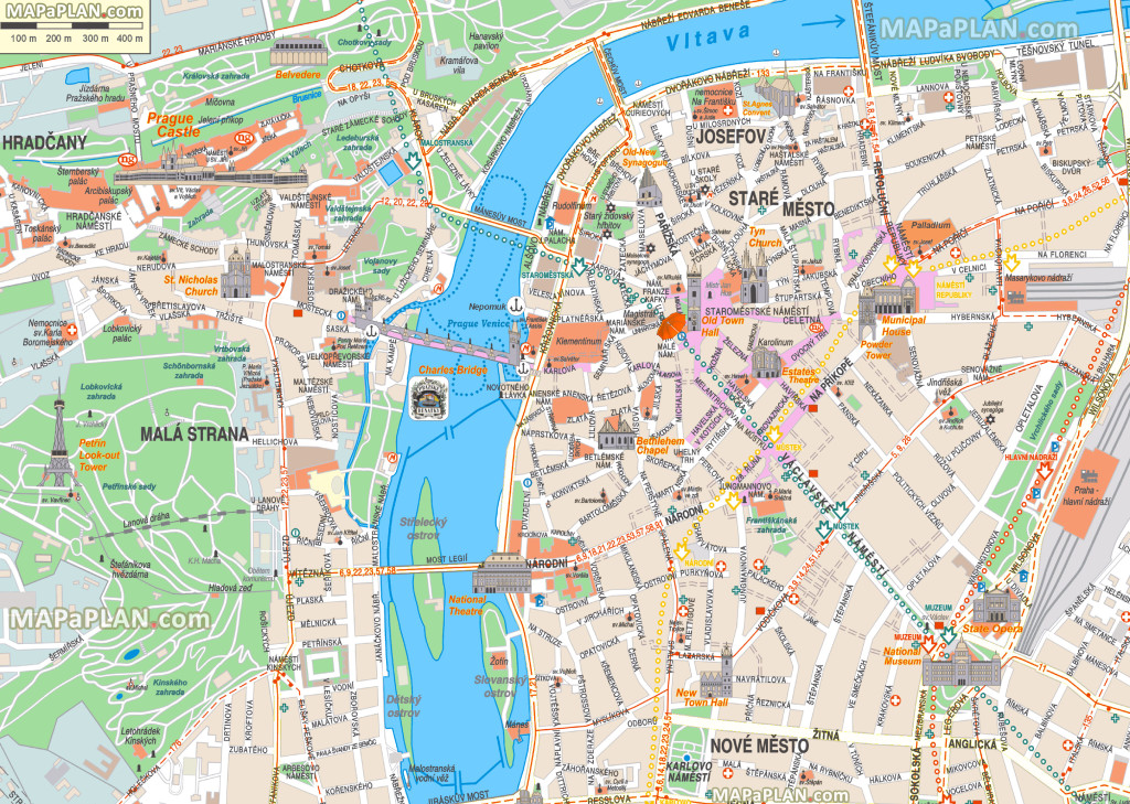 Prague Top Tourist Attractions Printable Map Www Kindschi